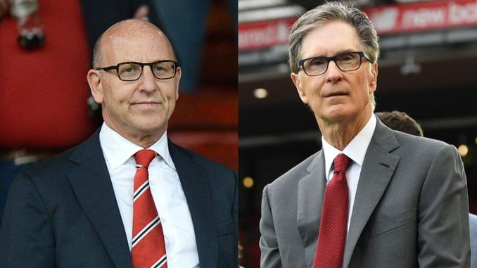 Manchester United co-owner Joel Glazer and Liverpool owner John W. Henry