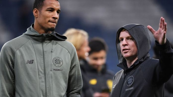 Celtic defender Christopher Jullien and manager Neil Lennon