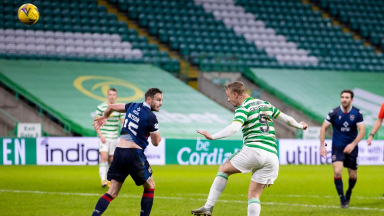 GLASGOW, SCOTLAND - DECEMBER 23: Celtic's Leigh Griffiths makes it 2-0 with a header during a Scottish Premiership match between Celtic and Ross County at Celtic Park, on December 23, 2020, in Glasgow, Scotland. (Photo by Craig Williamson / SNS Group)