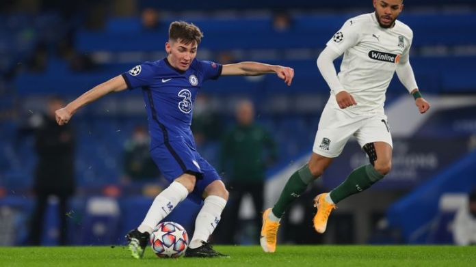 Billy Gilmour tries his luck from range on his return at Stamford Bridge