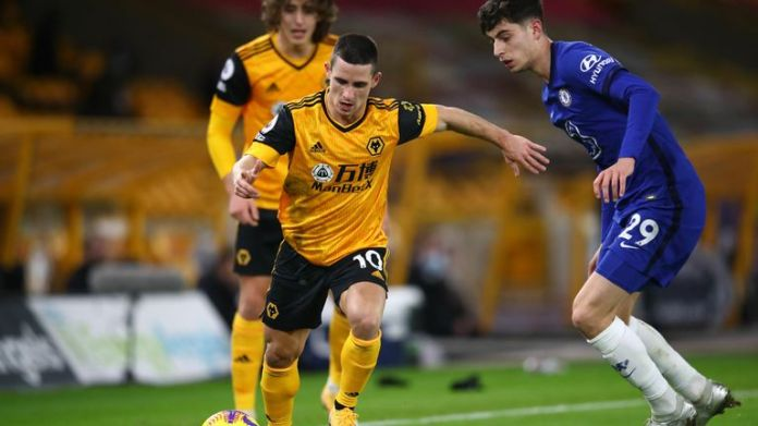 Daniel Podence and Kai Havertz during Wolves & # 39;  win over Chelsea at Molineux