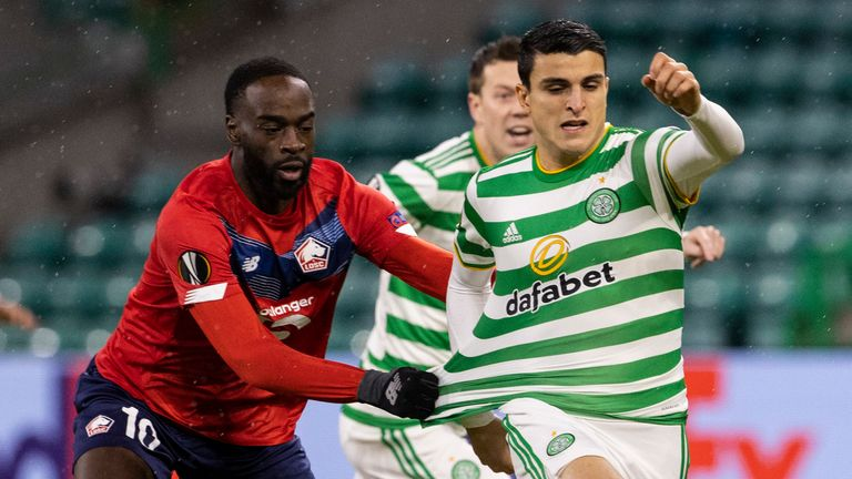 Lille's Jonathan Ikone (left) faces off against Celtic's Mohamed Elyounoussi