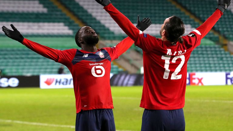 Jonathan Ikone celebrates the draw with Lille at Celtic Park