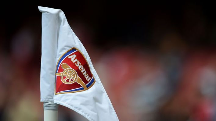 General view of the Arsenal club badge and emblem on a corner flag in the Emirates Stadium