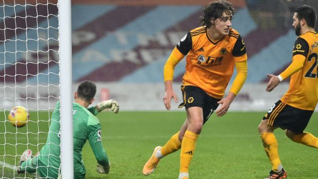 Fabio Silva wheels away after scoring his first ever Premier League goal from the penalty spot for Wolves against Burnley