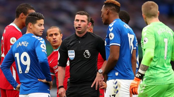 Michael Oliver refereed controversial Merseyside derby in October 2020