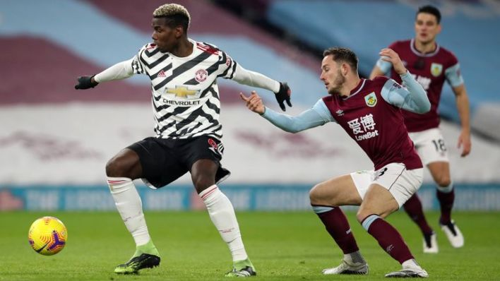 Manchester United's Paul Pogba in Premier League action at Turf Moor