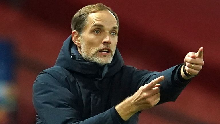 PSG's head coach Thomas Tuchel signals during a Group H Champions League soccer match between Manchester United and Paris Saint Germain at the Old Trafford stadium in Manchester, England, Wednesday, Dec. 2, 2020. (AP Photo/Dave Thompson)