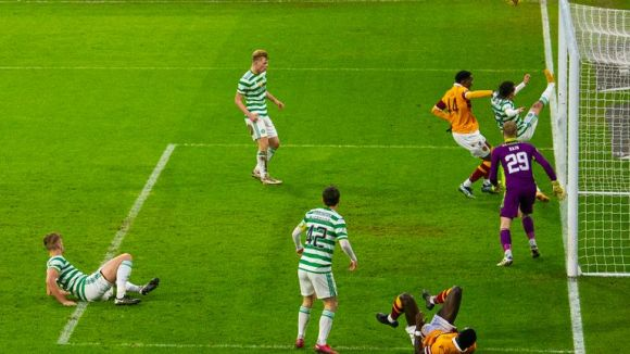 Celtic clear the ball off the line in the final minute against Motherwell