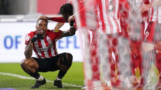 Brentford's Ivan Toney celebrates scoring their side's second goal of the game