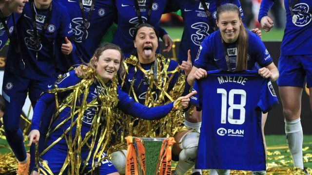 Chelsea's Erin Cuthbert, Sam Kerr and Fran Kirby celebrate after winning the FA Women's League Cup final