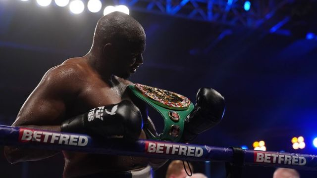 *** FREE FOR EDITORIAL USE ***.Alexander Povetkin v Dillian Whyte,  Interim WBC Heavyweight World Title..27 March 2021.Picture By Dave Thompson Matchroom Boxing.Dillian Whyte celebrates his win.