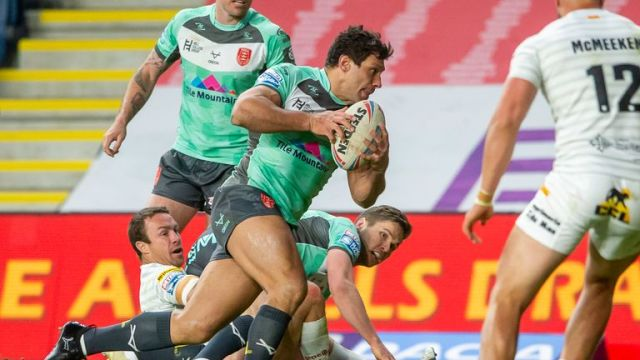 Hull KR's Ryan Hall on his way to score against Catalans