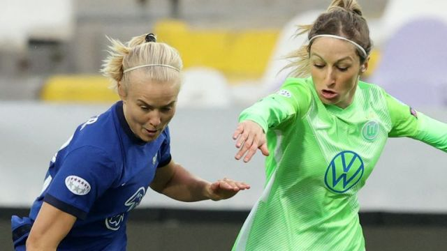 Chelsea's Pernille Harder against Wolfsburg in the Women's Champions League