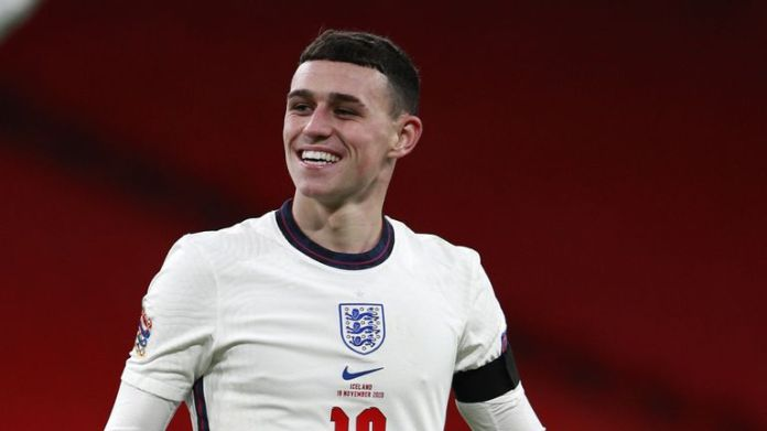 Phil Foden in action for England