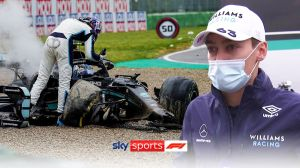 """George Russell said he had """"a lot to learn"""" after Valtteri Bottas Imola knocked down Mercedes boss Toto Wolff"""