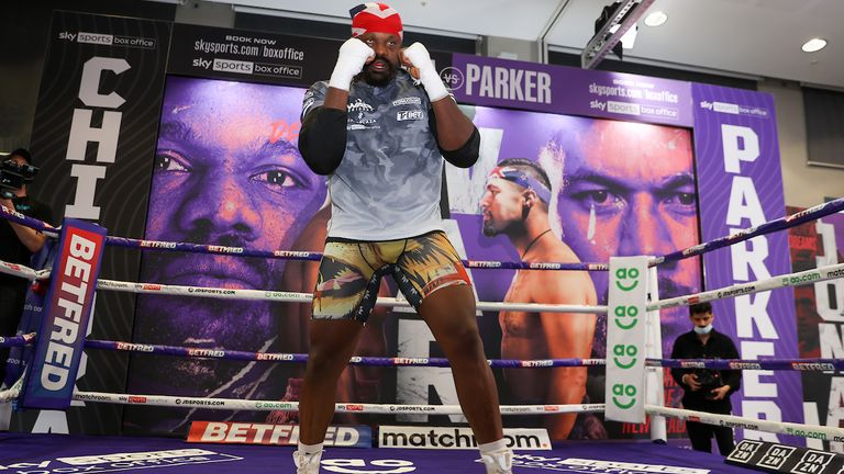 *** FREE FOR EDITORIAL USE ***.Derek Chisora trains at the fight hotel .28 April 2021.Picture By Mark Robinson Matchroom Boxing