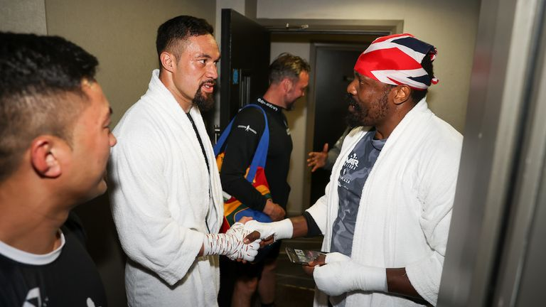 *** FREE FOR EDITORIAL USE ***.Joseph Parker and Derek Chisora tmeet after training at the fight hotel .28 April 2021.Picture By Mark Robinson Matchroom Boxing
