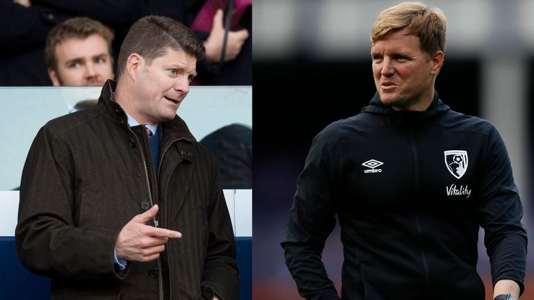 Celtic's incoming CEO Dominic McKay (left) and Eddie Howe (right)