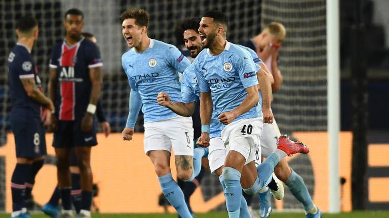 Riyad Mahrez celebrates after putting City ahead