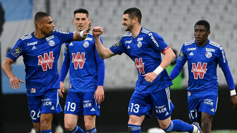 Stefan Mitrovic gave Strasbourg the lead at Marseille