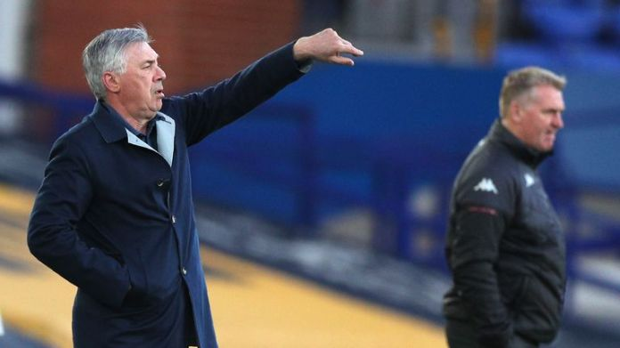 Carlo Ancelotti issues instructions to his players against Villa