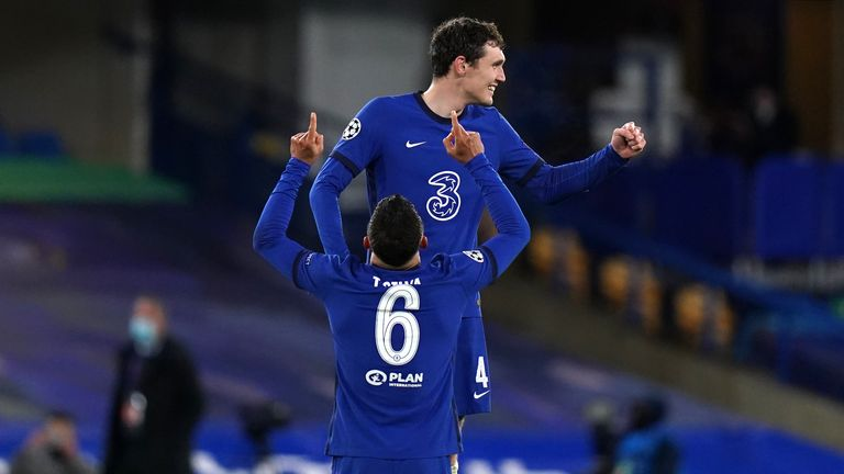 Chelsea's players celebrate at full-time in their Champions League semi-final second leg win over Real Madrid
