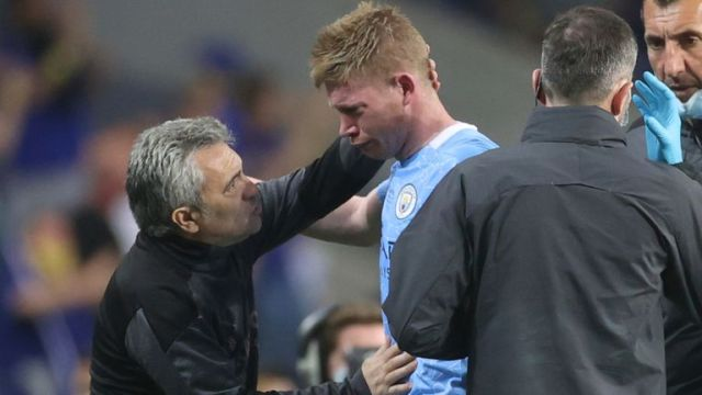 Kevin De Bruyne was in tears as he came off injured after a collision with Antonio Rudiger