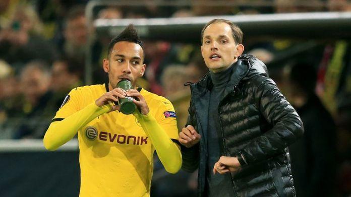 Borussia Dortmund manager Thomas Tuchel with Pierre-Emerick Aubameyang (left)