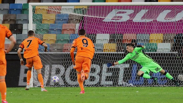 Ronaldo strikes from the penalty spot for Juventus against Udinese
