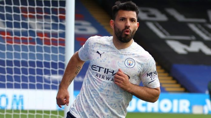Sergio Aguero set Man City on course for a priceless victory at Crystal Palace as they move to the brink of the Premier League title