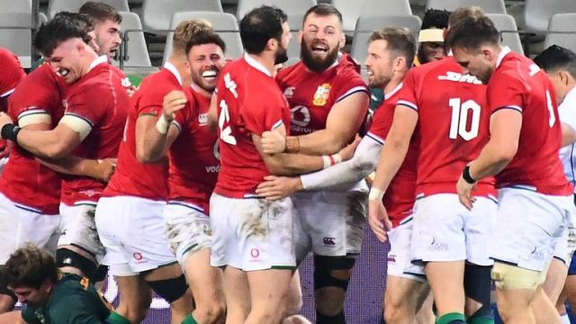 The Lions celebrate Luke Cowan-Dickie's try early in the second half of the first Test vs South Africa