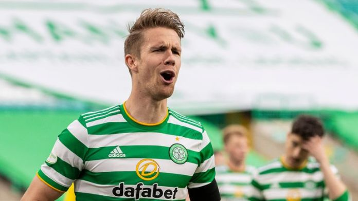 SNS - GLASGOW, SCOTLAND - MAY 12: kristoffer Ajer makes it 3-0 to Celtic during the Scottish Premiership match between Celtic and St Johnstone at Celtic Park on May 12, 2021, in Glasgow, Scotland. (Photo by Craig Williamson / SNS Group)