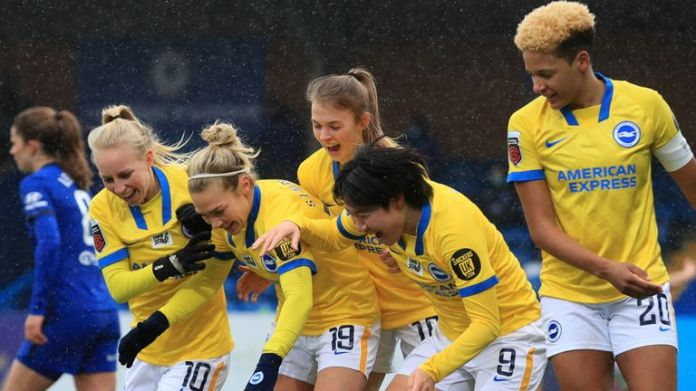 Brighton and Hove Albion's Aileen Whelan celebrates scoring their side's first goal of the game during the FA Women's Super League match at Kingsmeadow, London.