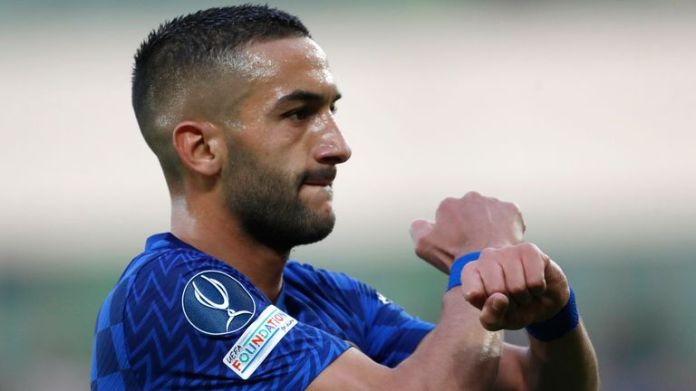 Chelsea's Hakim Ziyech celebrates after scoring his side's first goal during the UEFA Super Cup soccer match between Chelsea and Villarreal at Windsor Park in Belfast