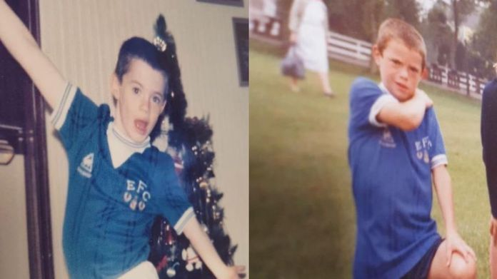 Young Carragher as an Everton supporter