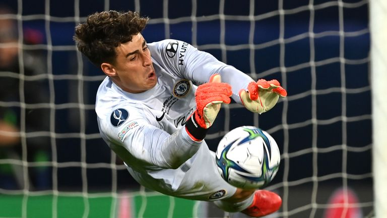 Kepa Arrizabalaga of Chelsea saves from Aissa Mandi of Villarreal in the shootout during the UEFA Super Cup 2021 match between Chelsea FC and Villarreal CF at the National Football Stadium at Windsor Park