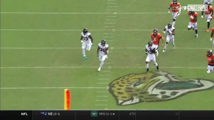 Jacksonville Jaguars kick returner Jamal Agnew returns the ball 102 yards for an unbelievable touchdown.