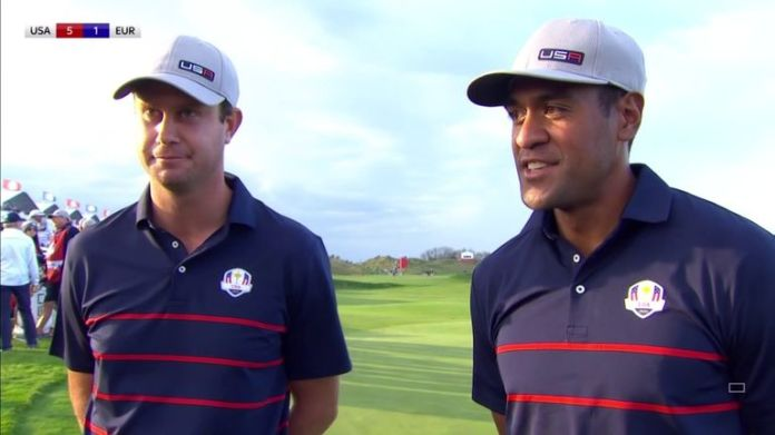 Harris English and Tony Finau reflect on a resounding 4&3 victory over Rory McIlroy and Shane Lowry in the Friday fourballs at the Ryder Cup