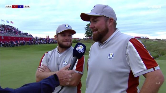 Shane Lowry says he won't stop believing after he and Tyrrell Hatton defeated Harris English and Tony Finau in the Ryder Cup fourballs.