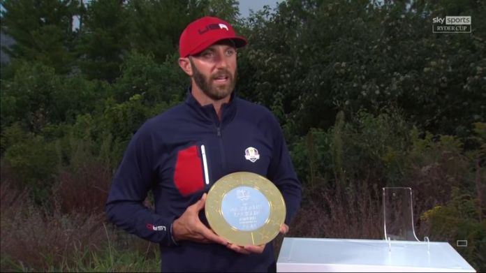 Dustin Johnson reflects on being named as the American recipient of the Nicklaus-Jacklin Award Presented By Aon, given to the player who best displays the spirit of the event