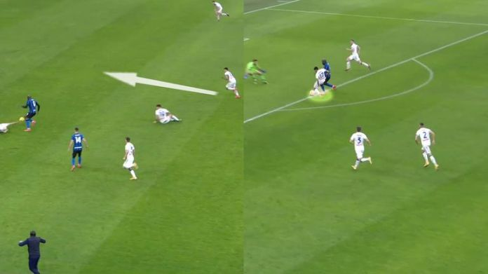 Lukaku robbing Rafael Toloi put him clean through on the Atalanta goal (left) but by the time he reached the penalty area, Cristian Romero caught him up and tackled him (right)