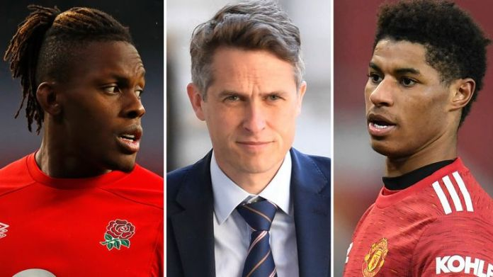 Maro Itoje, Gavin Williamson, Marcus Rashford (AP)