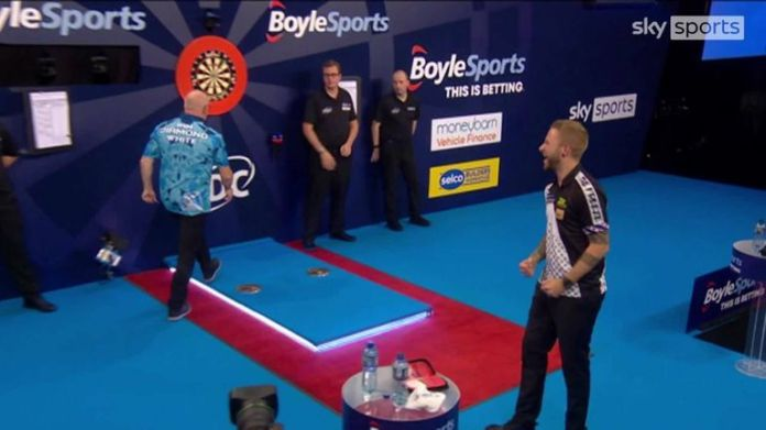 Danny Noppert defeated Ian White 3-1 in four sets, finishing with a bullseye.