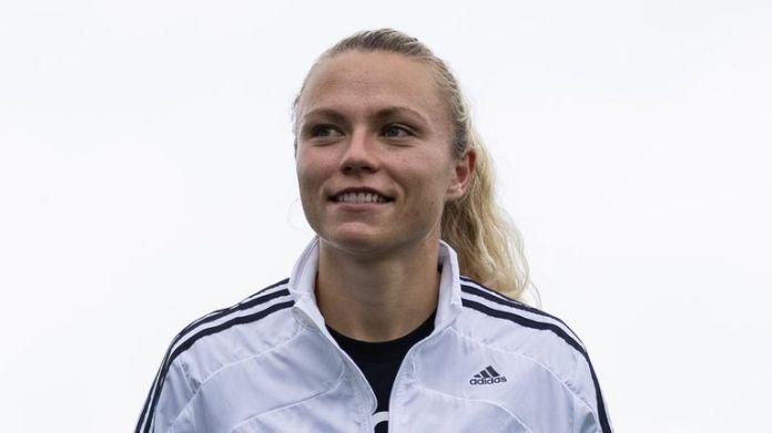 Everton Women's Claire Emslie wears the adidas X Speedflow