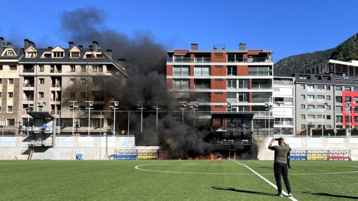 A fire breaks out at Andorra's National Stadium a day before they play England in a World Cup qualifier