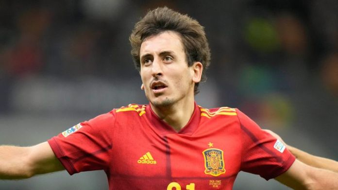 Mikel Oyarzabal celebrates after giving Spain the lead in the Nations League final - AP Photo/Luca Bruno