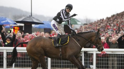 Brennan celebrates as Imperial Commander crosses the line first to win the Gold Cup at Cheltenham