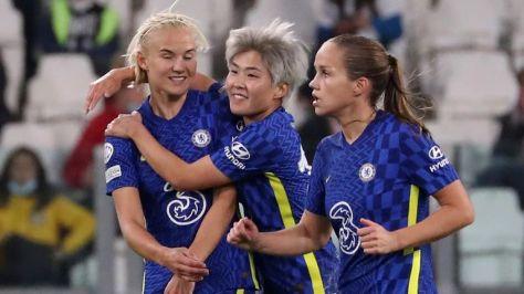 Pernille Harder celebrates scoring for Chelsea Women against Juventus