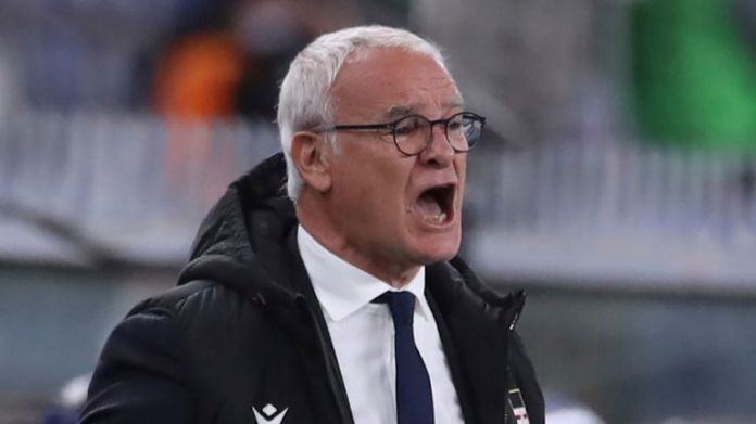 May 2, 2021, Genoa, United Kingdom: Genoa, Italy, 2nd May 2021. Claudio Ranieri Head coach of UC Sampdoria screams directions to his players during the Serie A match at Luigi Ferraris, Genoa. Picture credit should read: Jonathan Moscrop / Sportimage(Credit Image: © Jonathan Moscrop/CSM via ZUMA Wire) (Cal Sport Media via AP Images)